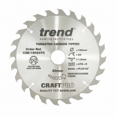 TREND CSB/19024TC 190mm x 30mm 24T Cft Saw Blade