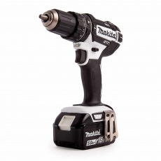 MAKITA DHP482T1JW 18v Black & White Combi Drill with 1x5ah Battery