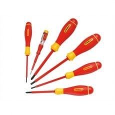 STANLEY 0 65 443 FatMax 6 Piece VDE Screwdriver Set - Parallel/Pozi