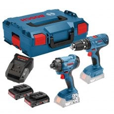 BOSCH GSBGDR18V 18v Twin Pack with 2x2Ah Batteries and L-Boxx Carry Case