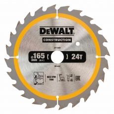 DEWALT DT1949 165x20mm 24T Cons Circ Saw Blade DC
